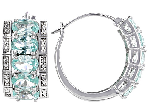 Photo of 4.25ctw Oval Lab Created Green Spinel Rhodium Over Sterling Silver Huggie Hoop Earrings