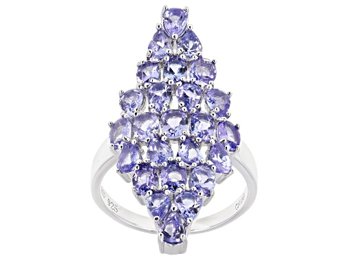Photo of 3.69ctw oval and pear shape tanzanite rhodium over sterling silver cluster ring - Size 7