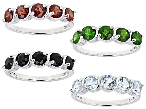 Photo of 6.40ctw chrome diopside, sky blue topaz, red garnet & black spinel rhodium over silver 4 ring set - Size 8