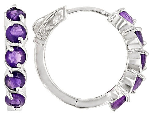 Photo of 2.07ctw round African amethyst rhodium over sterling silver hoop earrings