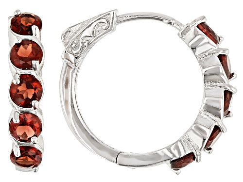 Photo of 3.15ctw round Vermelho Garnet™ rhodium over sterling silver hoop earrings