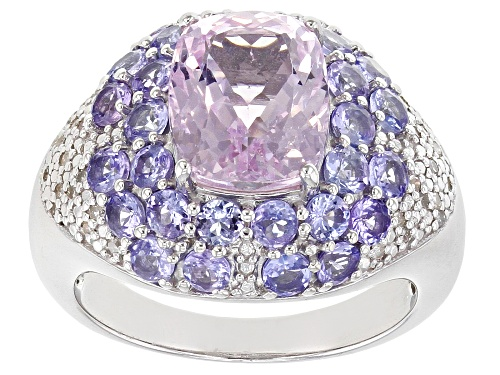 Photo of 2.91CT CUSHION KUNZITE WITH 1.53CTW TANZANITE & .10CTW WHITE DIAMOND RHODIUM OVER SILVER RING - Size 6