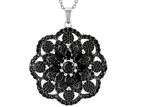 Photo of 8.05ctw Round and Pear Shape Black Spinel Rhodium Over Sterling Silver Pendant with Chain