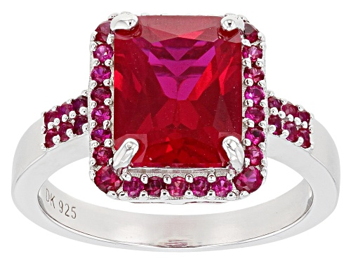 Photo of 3.68ct Rectangular Octagonal And .52ctw Round Lab Created Ruby Rhodium Over Silver Ring - Size 8