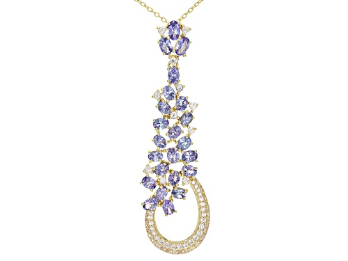 Photo of 4.06ctw Oval Tanzanite With .93ctw Topaz 18k Yellow Gold Over Silver Pendant With Chain