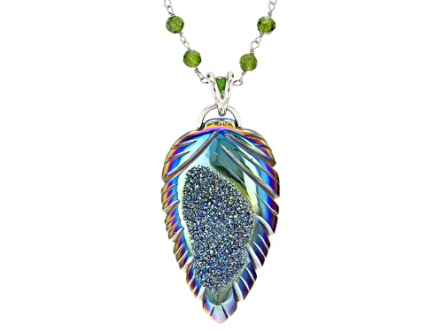 Photo of Peacock Blue Pear Shape Carved Druzy Pendant with Chrome Diopside Bead Rhodium Over Silver Necklace