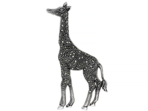 Photo of .02ct round white topaz with round marcasite sterling silver giraffe brooch