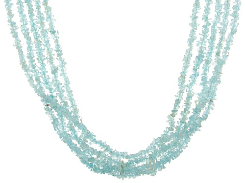 Photo of Free-Form Aquamarine Chips Rhodium Over Sterling Silver 5-Strand Necklace - Size 19