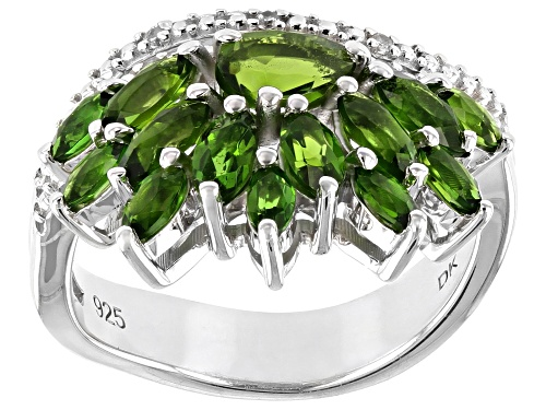 Photo of 2.14ctw Marquise And Pear Shape Chrome Diopside With .03ctw Zircon Rhodium Over Silver Ring - Size 7