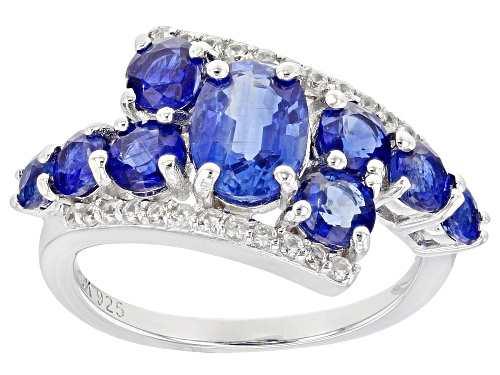 Photo of 3.14ctw Oval & Round Kyanite With .35ctw Zircon Rhodium Over Sterling Silver Bypass Ring - Size 8