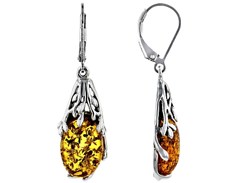 Photo of 14x10mm Oval Amber Rhodium Over Sterling Silver Dangle Earrings