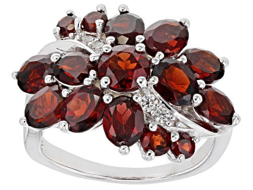 Photo of 4.73ctw Mixed Shape Vermelho Garnet™ with .09ctw Round White Zircon Rhodium Over Silver Ring - Size 7