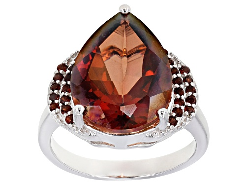 Photo of 6.46ct Pear Shape Red Labradorite With .28ctw Round Vermelho Garnet(TM) Rhodium Over Silver Ring - Size 8