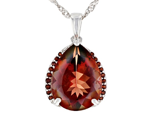 Photo of 6.46ct Pear Shape Red Labradorite & .18ctw Vermelho Garnet(TM) Rhodium Over Silver Pendant W/Chain