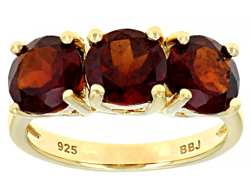 Photo of 3.92CTW ROUND HESSONITE GARNET 18K YELLOW GOLD OVER SILVER 3-STONE RING - Size 7