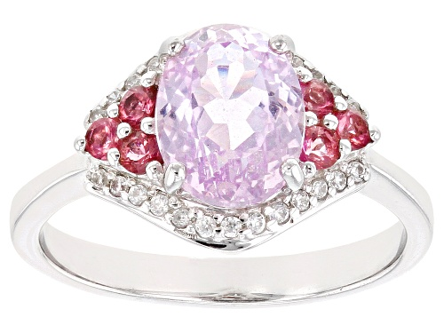 Photo of 2.13ct Kunzite with .20ctw Pink Tourmaline & .15ctw White Zircon Rhodium Over Sterling Silver Ring - Size 7