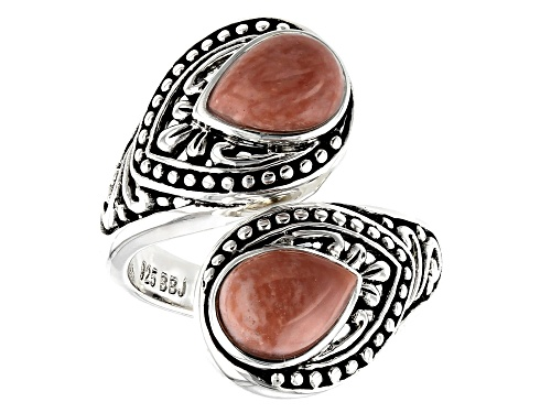 Photo of 8x6mm Pear Shape Pink Mookaite Rhodium Over Sterling Silver Bypass Ring - Size 7