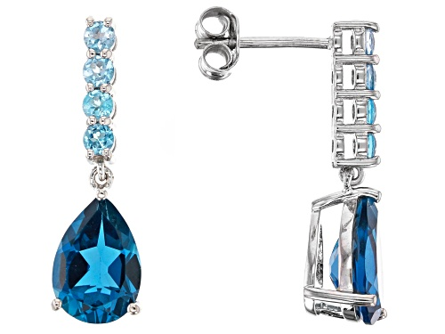 Photo of 3.35ctw London Blue Topaz & .61ctw Round Swiss Blue Topaz Rhodium Over Silver Dangle Earrings