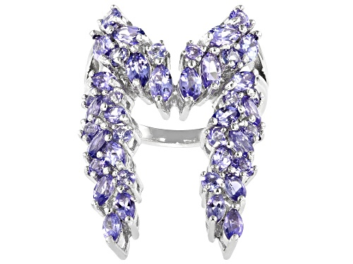 Photo of 2.86ctw Marquise And .88ctw Round Tanzanite Rhodium Over Silver Ring - Size 7