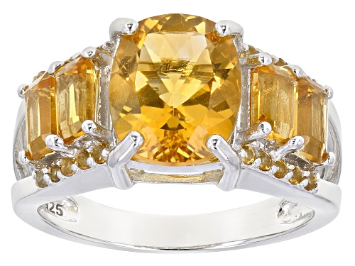 Photo of 3.12ctw Mixed Shape Golden Citrine Rhodium Over Sterling Silver Ring - Size 7
