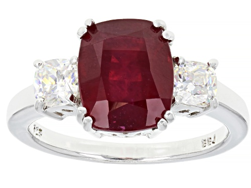 Photo of 3.90ct Mahaleo® Ruby with 1.04ctw Fabulite Strontium Titanate Rhodium Over Sterling Silver Ring - Size 9