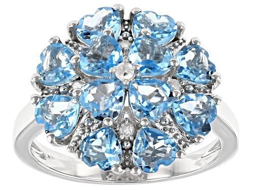 Photo of 2.75ctw Heart Shape Swiss Blue Topaz with .04ctw Round White Diamond Accent Rhodium Over Silver Ring - Size 8