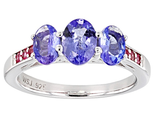 Photo of 1.45CTW OVAL TANZANITE WITH .13CTW PINK SPINEL RHODIUM OVER STERLING SILVER RING - Size 8