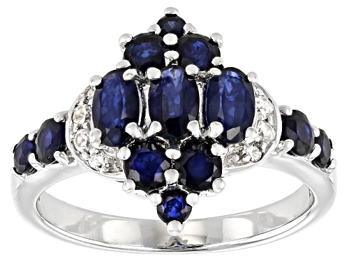 Photo of 1.93ctw mixed shapes Blue Sapphire with .10ctw White Zircon Rhodium Over Sterling Silver Ring - Size 9