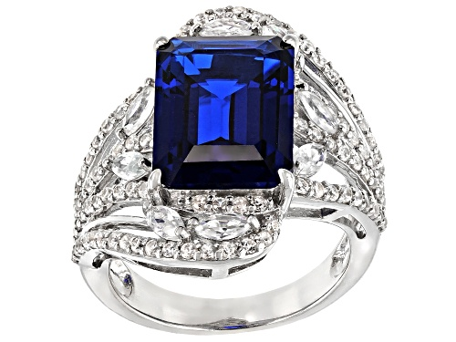 Photo of 6.12ct Lab Created Blue Spinel with 1.75ctw White Zircon Rhodium Over Sterling Silver Ring - Size 8