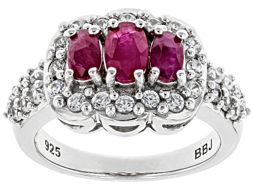 Photo of 1.07ctw oval BURMESE RUBY WITH .54ctw WHITE ZIRCON RHODIUM OVER STERLING SILVER RING - Size 7