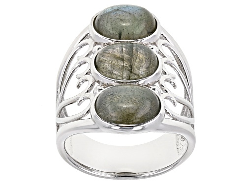 Photo of 9X7mm Oval Cabochon Labradorite Rhodium Over Silver 3-Stone Heart Detail Ring - Size 8