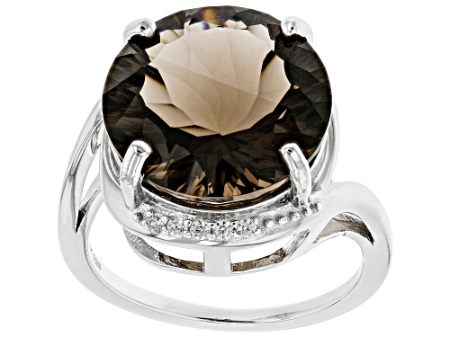 Photo of 8.84ct Round Quantum Cut(R) Smoky Quartz & .14ctw Round White Zircon Rhodium Over Silver Ring - Size 8