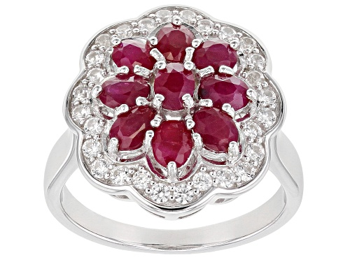 Photo of 1.91ctw Oval Burmese Ruby with .47ctw Round White Zircon Rhodium Over Sterling Silver Ring - Size 9