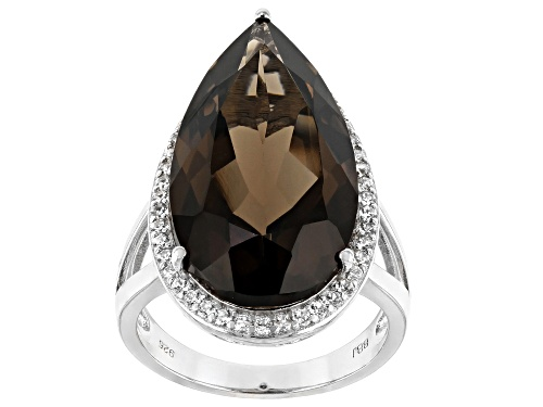 Photo of 12.27ct Pear Shape Smoky Quartz and .54ctw Round White Zircon Rhodium Over Silver Ring - Size 8