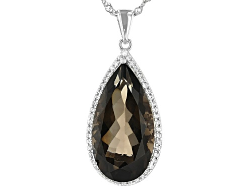 Photo of 12.27ct Pear Shape Smoky Quartz and .54ctw White Zircon Rhodium Over Sterling Silver Pendant W/Chain