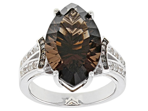 Photo of 6.80ct Smoky Quartz, .27ctw White Zircon & .05ctw Champagne Diamond Accent Rhodium Over Silver Ring - Size 8
