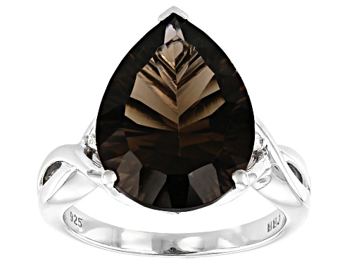 Photo of 6.15ct PEAR SHAPE SMOKY QUARTZ WITH .01ctw WHITE DIAMOND ACCENT RHODIUM OVER SILVER RING - Size 7
