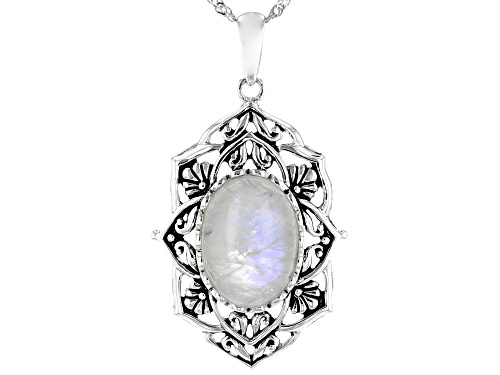 Photo of 18X13mm Oval Rainbow Moonstone Solitaire Sterling Silver Pendant with Chain