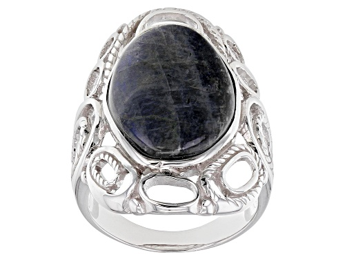 Photo of 20x13mm free-form cabochon Labradorite Rhodium Over Sterling Silver Solitaire Ring - Size 7