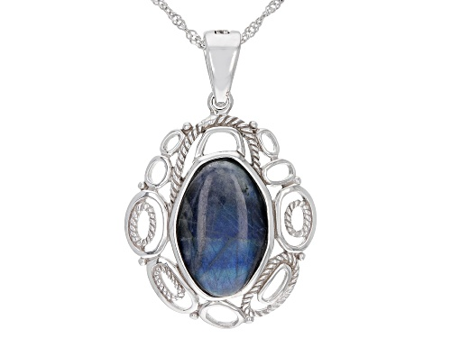 Photo of 20x13mm free-form cabochon Labradorite Rhodium Over Sterling Silver Enhancer with Chain