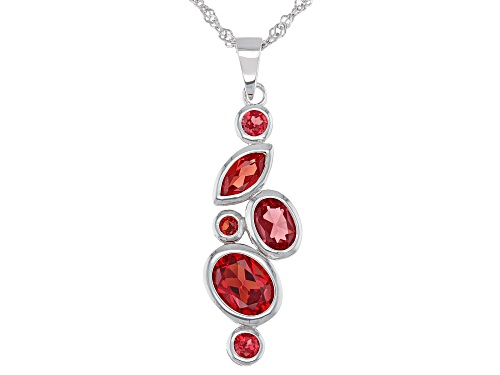 Photo of 3.97ctw Mixed Shape Lab Created Padparadscha Sapphire Rhodium Over Silver Pendant with Chain