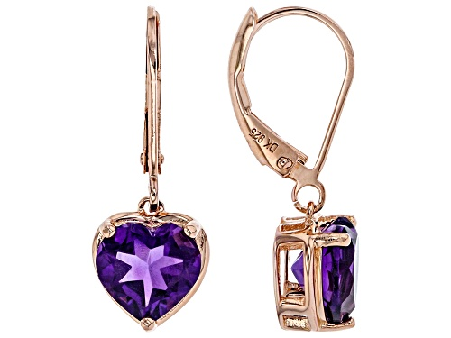 Photo of 3.16CTW HEART SHAPES AMETHYST 18K ROSE GOLD OVER STERLING SILVER DANGLE EARRINGS