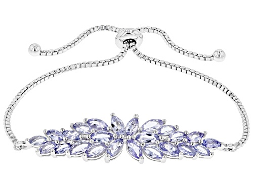 Photo of 4.25ctw marquise tanzanite adjustable rhodium over sterling silver bolo bracelet