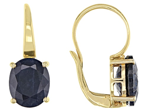 Photo of 6.00ctw Oval Blue Sapphire Solitaire 18k Yellow Gold Over Sterling Silver Drop Earrings