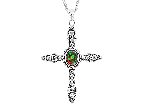 Photo of .60ct Oval Cabochon Ethiopian Black Opal Sterling Silver Cross Pendant With Chain