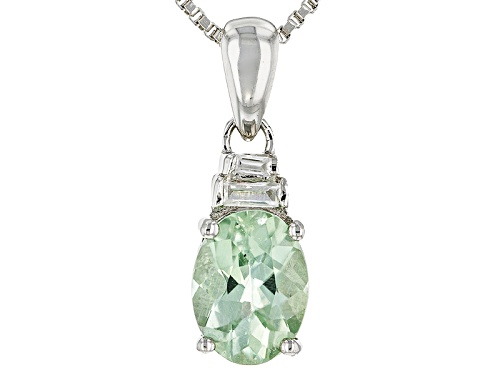 Photo of 1.00ct Oval Brazilian Amblygonite And .12ctw Baguette White Zircon Silver Pendant With Chain