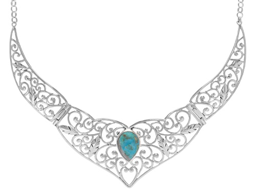 Photo of 20x15mm Pear Shape Cabochon Blue Turquoise Sterling Silver Solitaire Necklace - Size 18