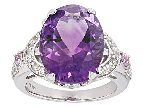 Photo of 7.12ct Oval Moroccan Amethyst, .27ctw Pink Sapphire With .52ctw White Zircon Sterling Silver Ring - Size 8