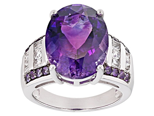 7.12ct Oval and .14ctw round Moroccan Amethyst With .57ctw White Topaz Sterling Silver Ring - Size 5