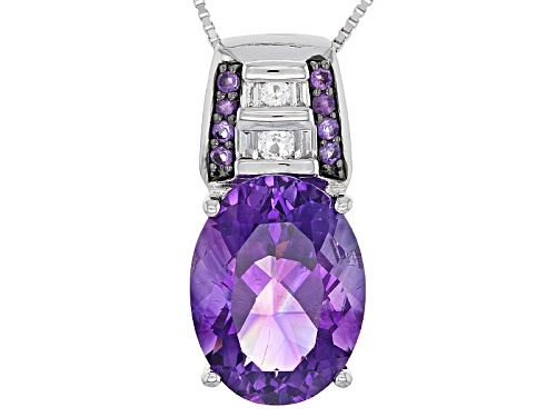 Photo of 7.12ct Oval and .12ctw Moroccan Amethyst With .27ctw Topaz Silver Pendant With Chain